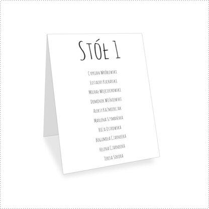 Numer na stół weselny z listą gości [Projekt 1]